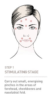 Step 1 - Carry out small, energising pinches in the areas of forehead, cheekbones and nasolabial fold