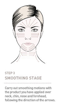 Step 3 - Smoothing stage - Carry out smoothing motions with the product you have applied over neck, chin, nose and forehead, following the directions of the arrows.