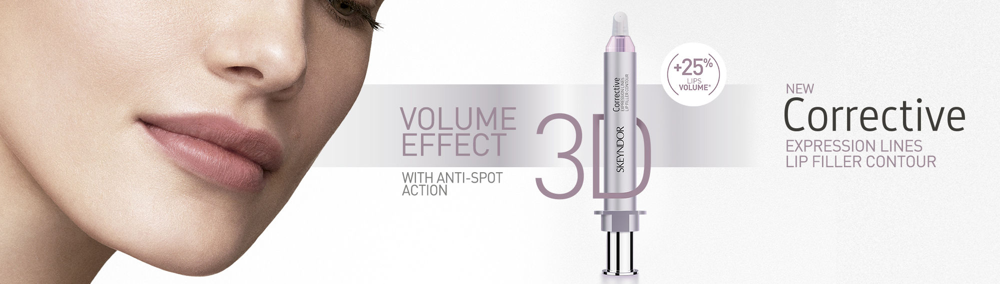 New Corrective expression lines lip filler contour. Volume effect 3D with anti-spot action.